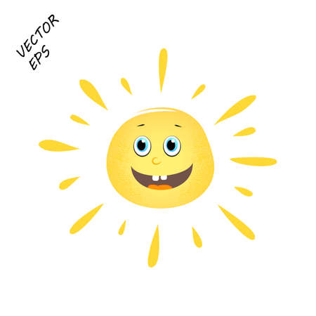Laughing vector sun on isolated background. A child's drawing of a laughing face. The sun is the concept of summer, rest. Eps 10.