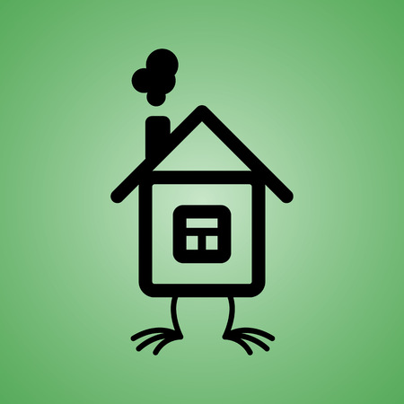 House with chicken feet icon on isolated green background. Vector element for your design. Eps 10.
