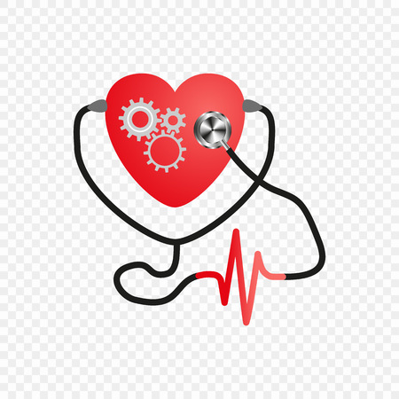 World heart day. Stethoscope Of The Heart. Gear mechanism in the heart. Artificial heart. Vector isolated on transparent background. Medical service design, ECG. Eps 10.