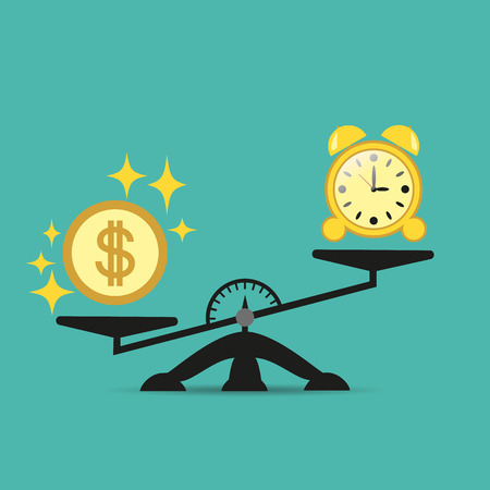Money is harder than time on the scales. Balance money and time on a scale. Business concept. Vector illustration for your projects. Eps.