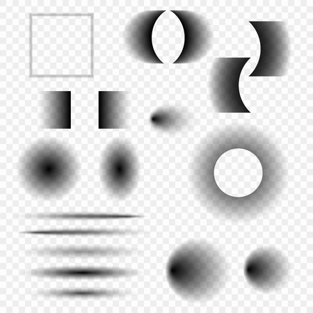 Set of realistic vector shadows of different shapes on a transparent background. Design elements for your ideas. Eps.