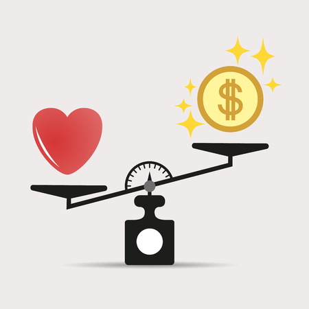 Scales comparison of money and heart. A balance between love of heart and money. Love is more valuable than money. The concept of vector.Eps. Фото со стока - 127307141
