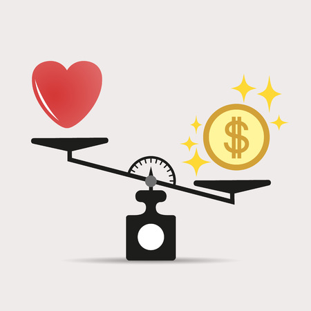 Money weights over the heart. Scales between love and money. The concept of greed, gain, money is more important than love. Vector illustration isolated on light background. Eps.