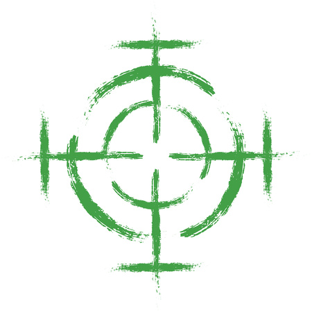 A green target on an isolated white background. Vector element, sight. Illustration, icon for your design. Eps 10.