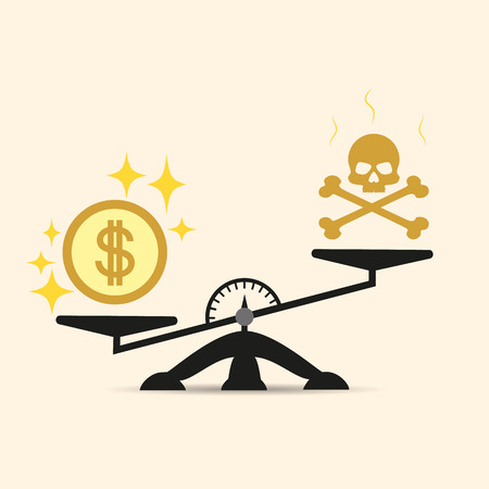 Skull and Money on a Two Pan Balance. Vector concept of choice in the scales of money or death. Money is more important than life. Illustration isolated on a light background. Eps.
