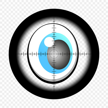 Cartoon eyes with sniper optical sight. Eyes looking for target. At gunpoint. View through the sight of a hunter rifle on an isolated transparent background.