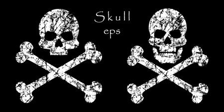 Grunge crossbones on isolated dark background. Skull death, warning, danger or poison, flat icon. Vector element. Eps. Vectores