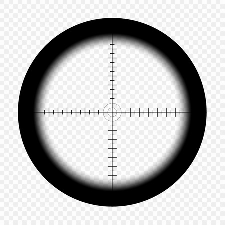 Sniper scope with measurement marks on an isolated transparent background. View through the sight of a hunter rifle. Optical vector sight template. eps. Vettoriali