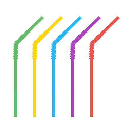 Colored plastic, corrugated, curved straws for drinking liquids. Vector design elements isolated on light background. Eps.