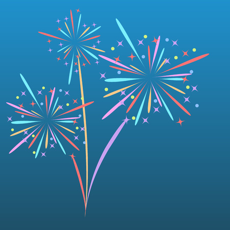 Fireworks rocket explodes in colored stars. Design element on isolated blue background. Abstract vector illustration. Eps.