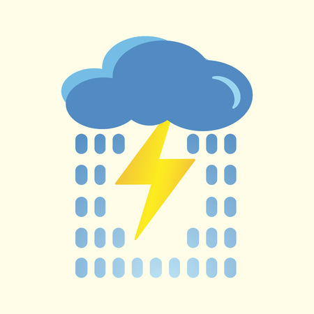 Blue cloud with lightning and rain icon. Cartoon illustration of clouds with lightning and rain vector icon for Internet. The concept of a bad mood. Application on t-shirts, bags. Isolated on a light background. Eps.