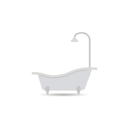 욕조 아이콘입니다. 밝은 배경에 고립 된 욕조 벡터입니다. 디자인을 위한 요소입니다. 주당 순 이익.