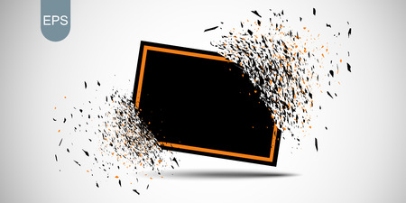 Black banner with red frame with fragments isolated on white background. Abstract black explosion with small particles. Black broken glass plate with space for your text. Vector illustration. Eps.