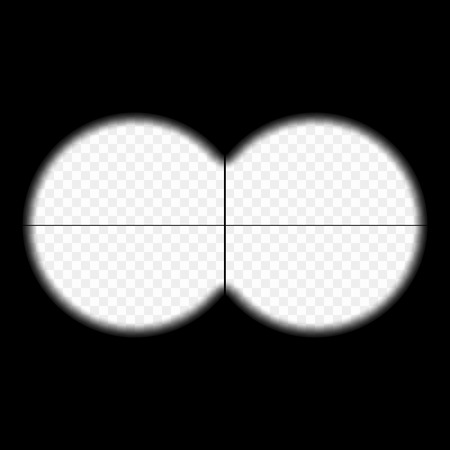 The view from the binoculars. Vector element isolated on a transparent background. Framework for military, hunting or tourism projects. Measuring scale in the center. The template is the view from the binoculars. Eps.
