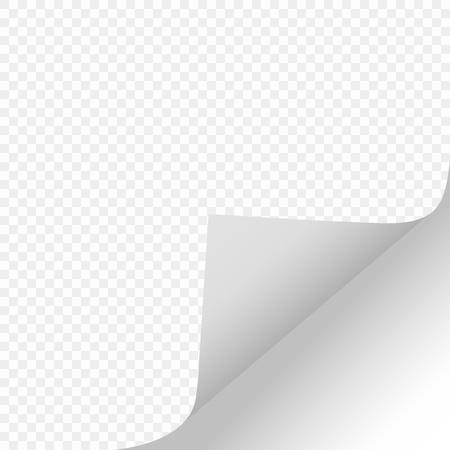 Scorri la pagina con un'ombra su un foglio di carta pulito dal bordo destro nella parte inferiore dell'adesivo di carta bianca. Elemento isolato su uno sfondo trasparente. Illustrazioni vettoriali per messaggi pubblicitari, design e progetti aziendali. eps. Vettoriali