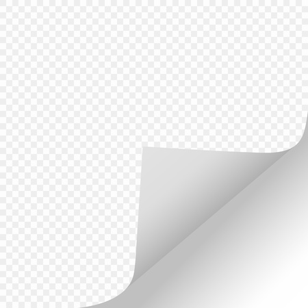 Scroll the page with a shadow on a clean sheet of paper from the right edge at the bottom of the white paper Sticker. Element isolated on a transparent background. Vector illustrations for advertising message, design and business projects. Eps. Ilustración de vector