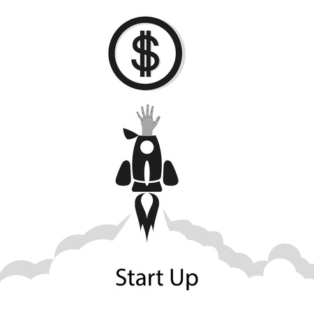 Flat concept background with rocket. Hand reaching for the coin. Startup business project. The rocket flies across the sky, above the clouds, launching a new business. Vector illustration with space for text. Eps.