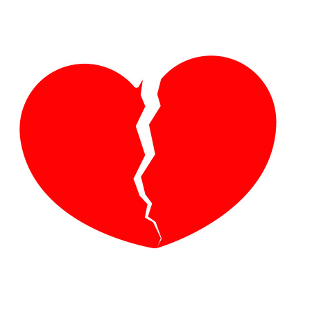 Broken heart vector icon. The design element is isolated on a light background. Eps. Vettoriali
