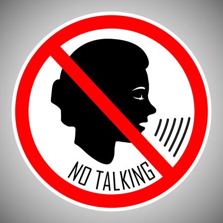 Hör auf zu reden. Nicht sprechen. Kein Geräusch. Das Konzept des Symbols ist das richtige Verhalten der Menschen an diesem Ort. Vektorelement auf hellem Hintergrund isoliert. Eps. Vektorgrafik