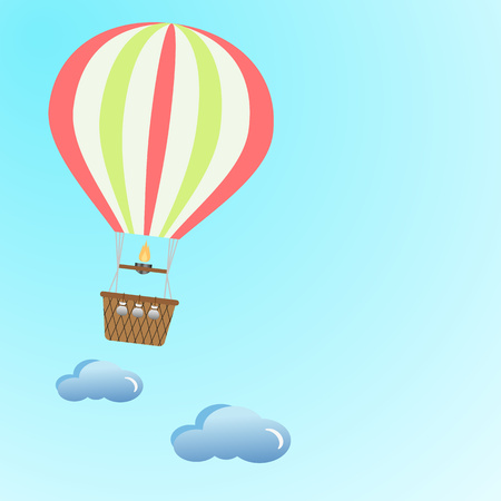 A balloon flying in the clouds across the sky. The concept of vacation, travel. The design of the template. Vector illustration for your ideas. Eps.