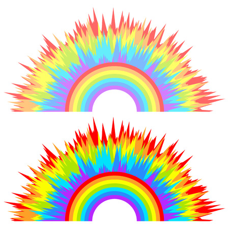 Multi-color abstract children's rainbow on isolated light background. Rainbow colored explosion. Vector holiday design element for your creativity. Eps. Illustration