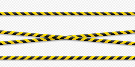 Warning lines. Caution it is dangerous to health. Warning barricade tape, yellow-black, on an isolated background. Vector illustration. Eps. Standard-Bild - 113595040