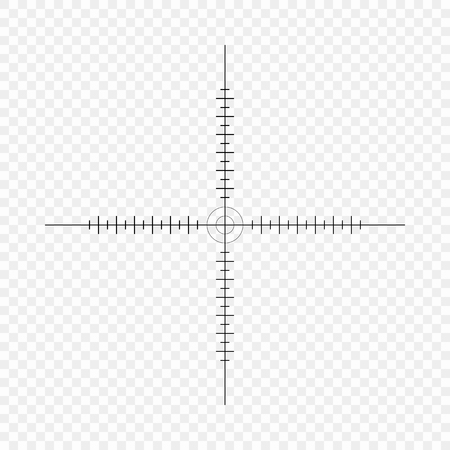 Sniper scope, scale. Crosshairs with tick marks. Icon. Vector concept of target search. Element isolated on light background, pattern. Eps.