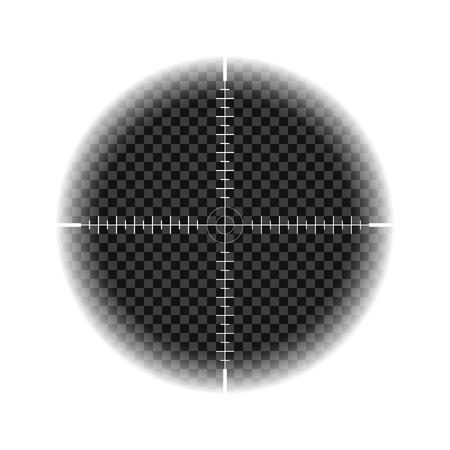 Modello di mirino da cecchino, vista notturna con segni di misurazione su sfondo isolato. Vista attraverso il mirino di un fucile da caccia. Il concetto di mira, la ricerca dell'obiettivo principale. eps.