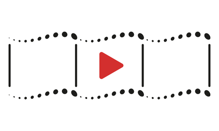 Play button icon. Abstract the videotape. Vector design element isolated on light background. Eps.