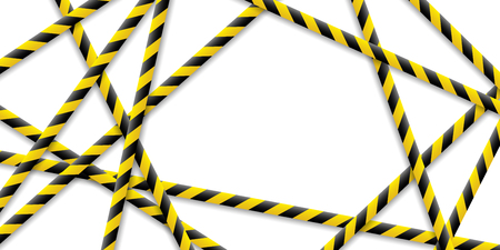 Caution tape, police line and danger tapes are crossed, all sealed, do not pass, do not cross. Vector illustration on isolated background. Eps. Ilustração