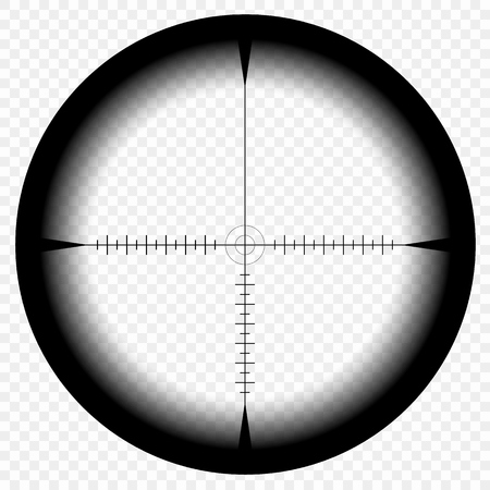 Sniper scope template, with measurement marks on isolated background. View through the sight of a hunting rifle. The concept of aiming, the search for the main goal. Eps. Illustration