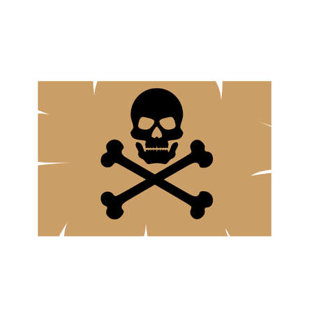 Worn decal of a skull with crossbones. Pirates icon. Cartoon poison. Vector design element on isolated background.