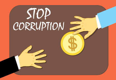To stop the corruption of a money transfer. Illegal way. Vector illustration.