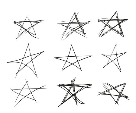 Set of black hand-drawn stars with different line thickness, sketch. Vector elements isolated on light background. Eps.