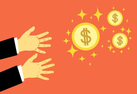 Les mains se tendent pour de l'argent. Le concept de la cupidité, tout pour l'argent. La poursuite de la richesse. Illustration vectorielle. Eps.
