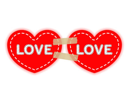 Two red hearts on a paper adhesive tapes. Love concept, Valentine's day. Vector design elements isolated on light background.