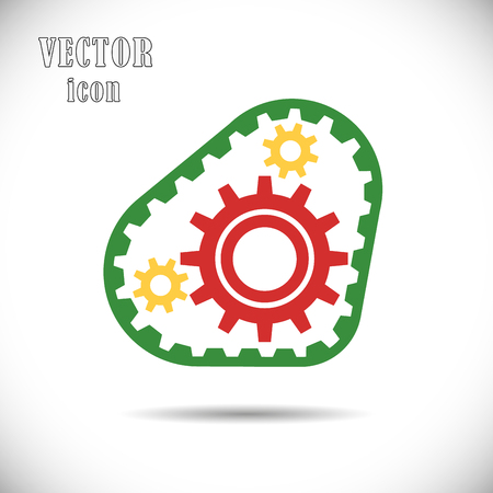 Colored gears with timing belt, icon. The concept of operation of the engine or drive chain mechanisms. Vector illustration on isolated white background. Eps.