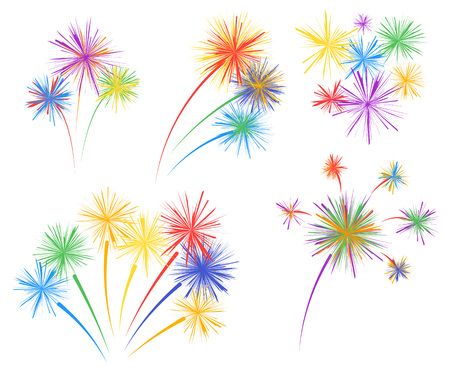 Set fireworks of different kinds. Vector design elements isolated on light background. Eps.