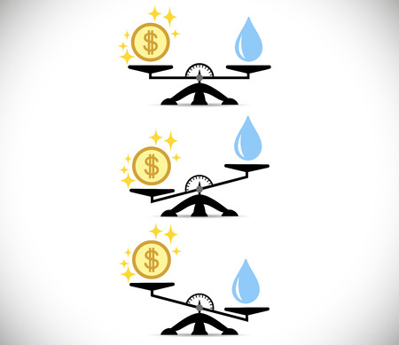 Scales, Water, Money or Finance. The concept of choice. Flat style. Vector illustration on isolated background. Eps. Illustration