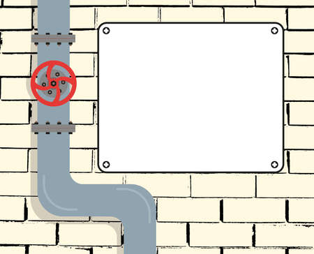 Brick wall with water or gas pipeline or oil pipeline. Water valve. Text Board. Vector illustration.