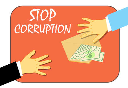 To stop the corruption, the transfer of the money in the envelope. Illegal way. Vector illustration. Ilustrace