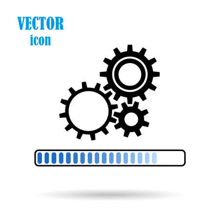 Vector gear, flat icon, on isolated white background. The concept of the Loading process. Application update. Work of mechanical parts. Design element for your works.