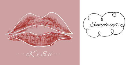 Lipstick lip print from a kiss. Wedding card. Vector illustration with space for your text. The concept of romance, love, recognition. Illusztráció