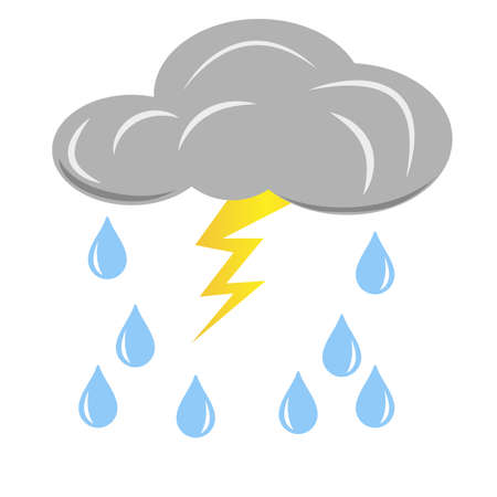 Grey rain cloud with lightning and raindrops. Vector design element isolated on light background. Ilustrace