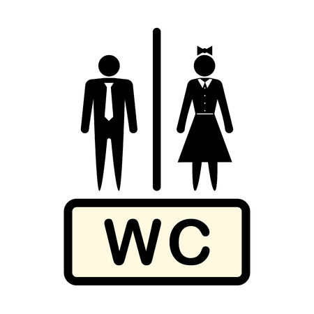 Vector icon denoting man and woman, symbol. Concept. Bathroom. WC, toilet. Illustration isolated on a light background. Eps. Illustration