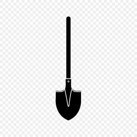 Shovel, spade, icon, silhouette isolated on a transparent background. Garden equipment. Spring, summer work. Farm tools for digging holes. Vector flat design.