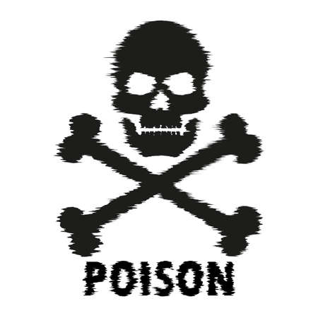 The blurred silhouette of a skull with crossbones and the word poison. Vector element isolated on light background. Ilustrace
