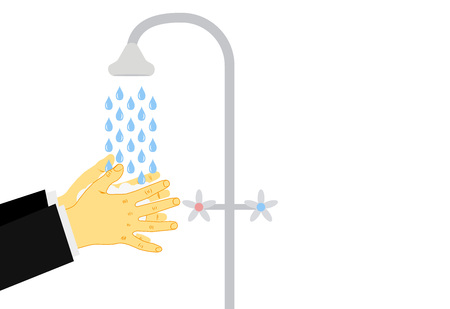 Washing hands under a tap with soap and water. The concept of hygiene, clean your hands after street before dinner. Vector illustration. Eps. Standard-Bild - 126864377