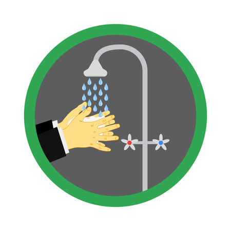 Washing hands under a tap with soap and water. The concept of hygiene, clean your hands after street before dinner. Vector illustration. Eps.