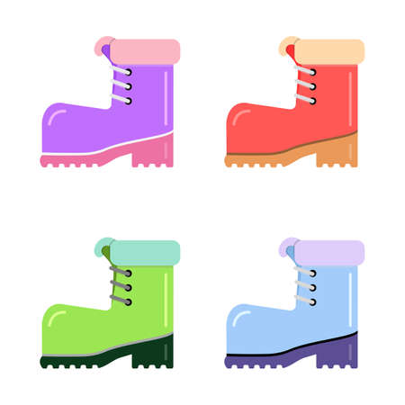 Set boot of different colors, for tourism and active lifestyle. Element vector on an isolated background. Ilustrace